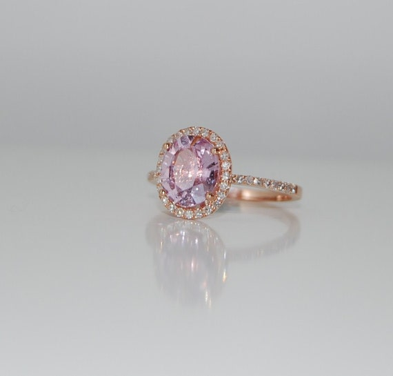 2.2ct oval lavender  peach champagne sapphire in 14k rose gold diamond ring-on hold