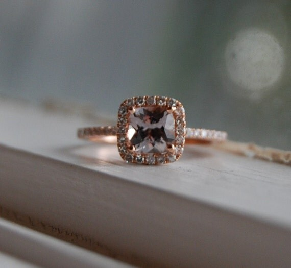 Reserved -1ct cushion champagne color changesapphire in 14k rose gold diamond ring-1st payment