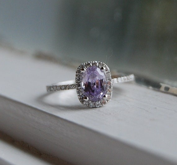 reserved -1.2ct Lavender violet cushion color change sapphire diamond ring-1st payment