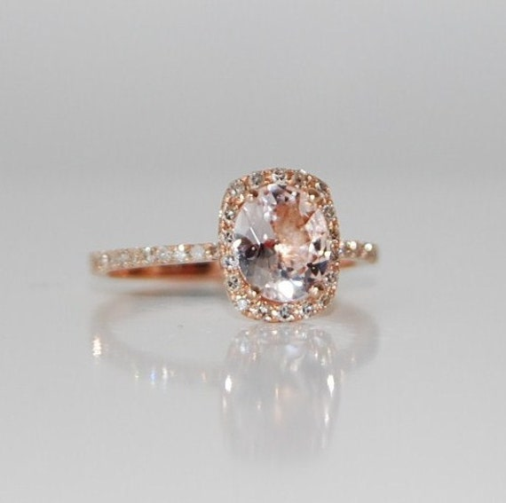 2ct Cushion ice peach champagne sapphire in 14k rose gold
