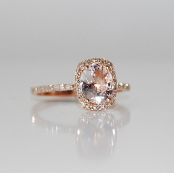 Rose gold engagement ring sapphire ring diamond ring 2.3ct cushion sapphire 14k rose gold. Engagement rings by Eidelprecious