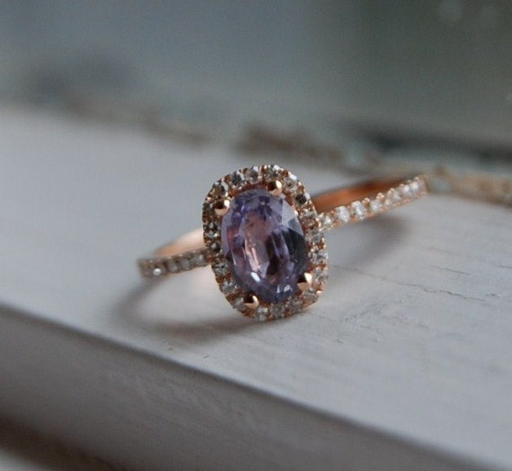 Reserved - 1st payment-Lilac and Roses - 1.12ct cushion lavender pink sapphire rose gold diamond ring 14k