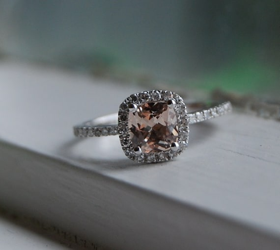 reserved for MG -0.93ct Cushion peach champagne sapphire white gold diamond ring