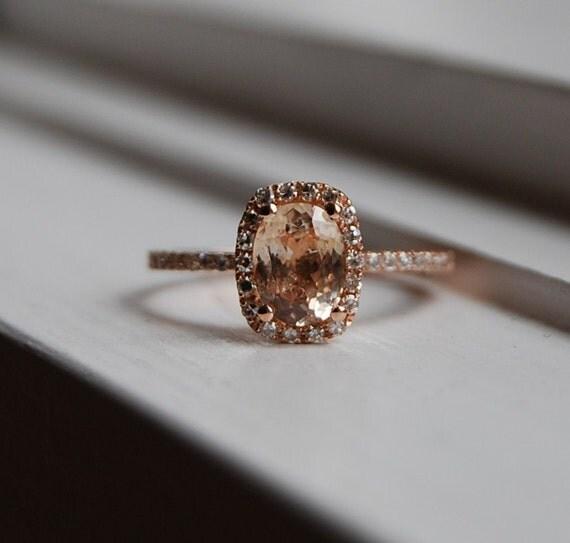 1.15ct Cushion peach champagne sapphire in 14k rose gold diamond ring