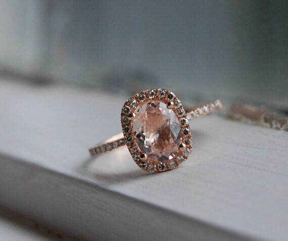 1.7ct Cushion peach champagne sapphire in 14k rose gold diamond ring