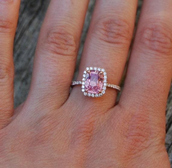 2.84ct Cushion Peach sapphire Champagne sapphire 14k rose gold diamond ring engagement ring