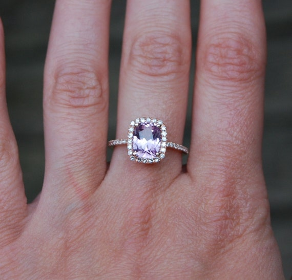Reserved2.11ct Cushion peach lavender champagne color change sapphire in 14k rose gold diamond ring-final payment