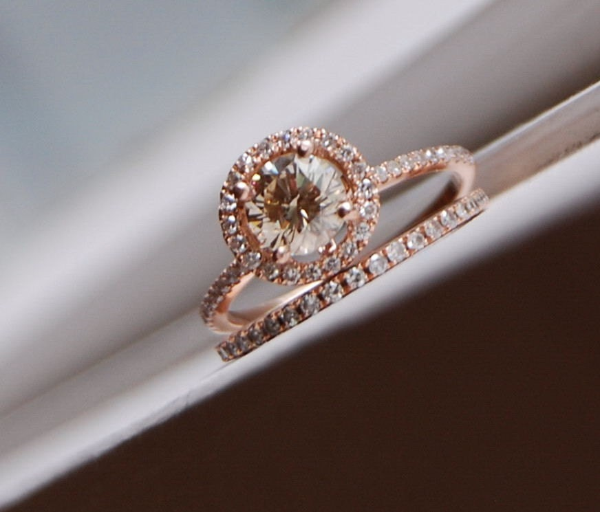 engagement ring set 07ct vs champagne diamond ring 14k rose