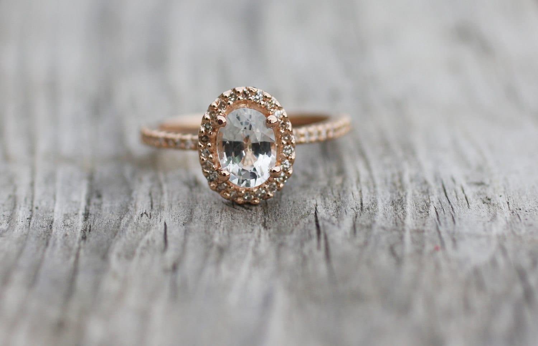 Oval White Sapphire Diamond Ring 14k Rose Gold 🔎zoom