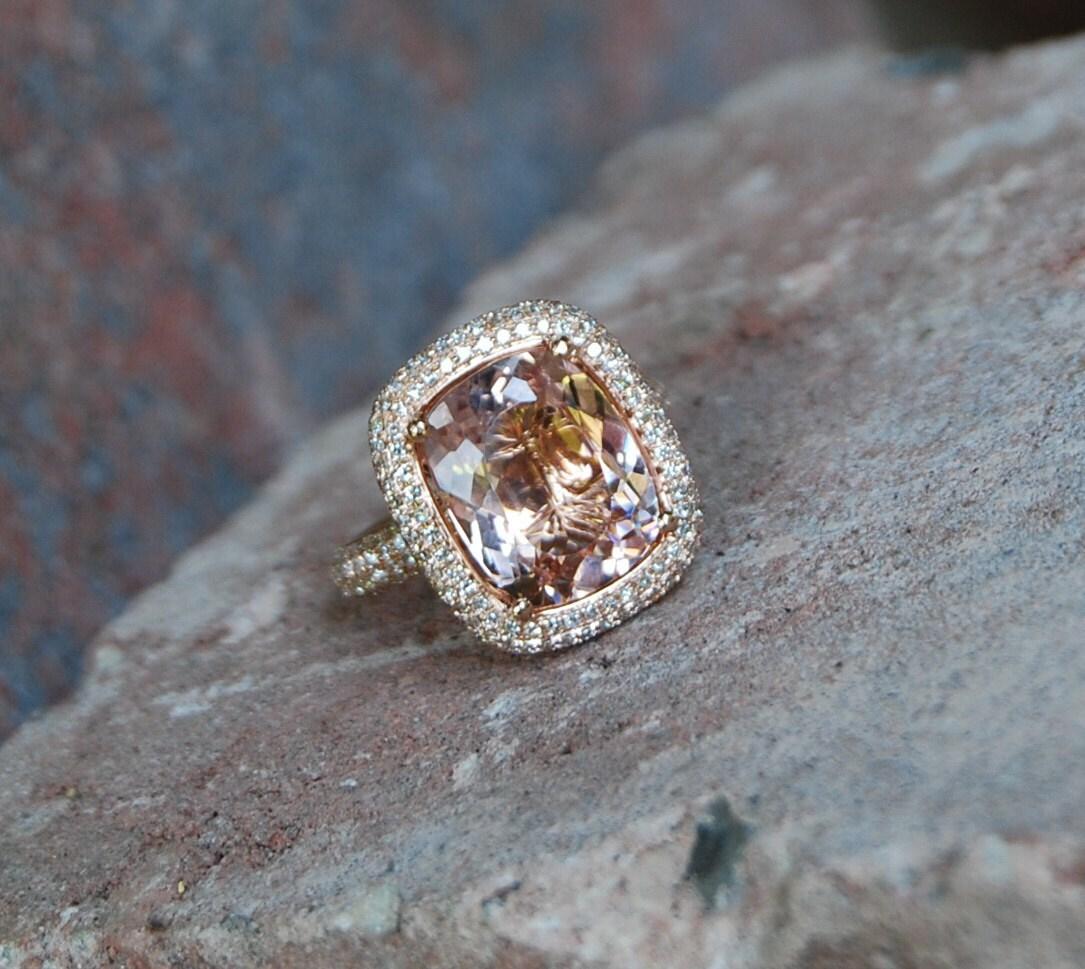 Morganite Ring Rose Gold Diamond Engagement Ring Cocktail Peach Morganite 5ct Diamond Ring