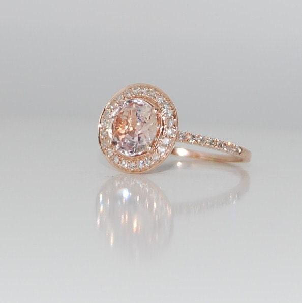 ... Peach Champagne sapphire diamond ring 14k rose. 🔎zoom