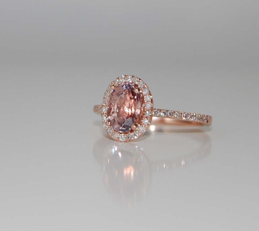 1 65ct Oval champagne peach sapphire diamond ring 14k rose
