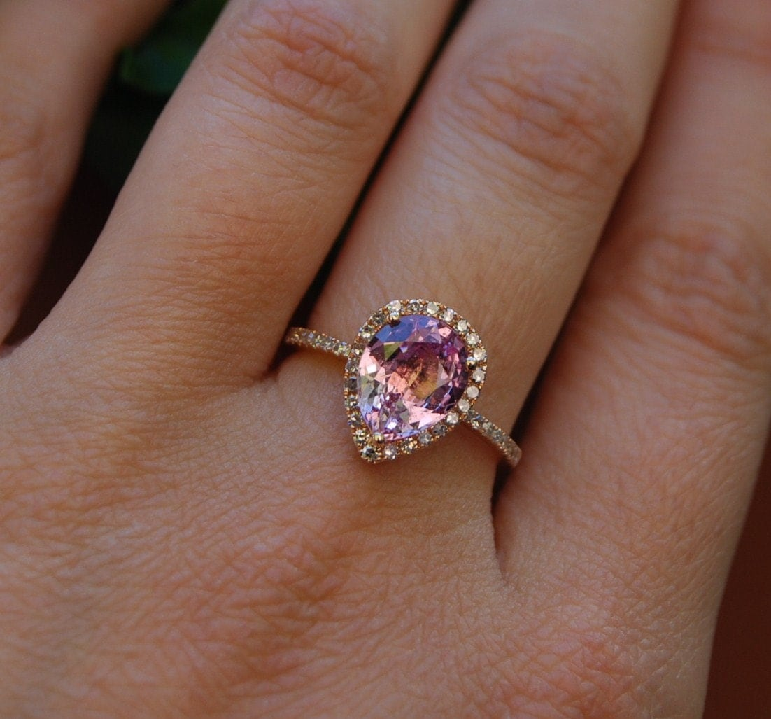 2 2ct Peach pink champagne tear drop sapphire and rose gold