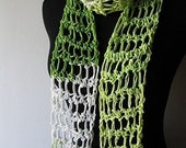 FREE SHIPPING Summer Breeze Cotton Scarf Green White