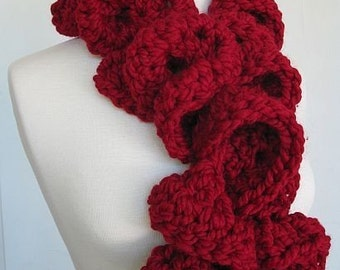 Girly Girl Swirly Swirl Ruffle Scarf Huge Garnet Red