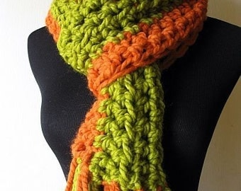 Peas and Carrots Crochet Scarf in Orange Lemongrass Green