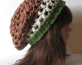 Slouch Beanie Hat in Woodland Brown Beige Green