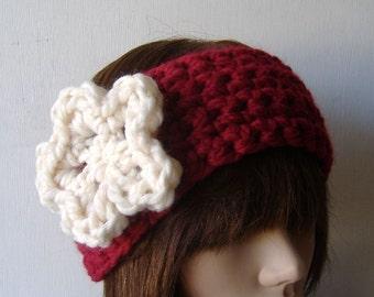 Ear Warmer Headband Neckwarmer Cowl Red White