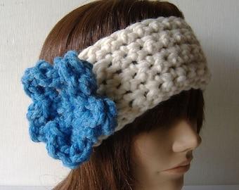 Ear Warmer Headband Neckwarmer Cowl White Blue