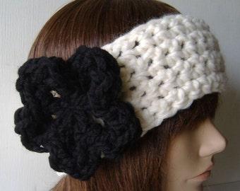 Ear Warmer Headband Neckwarmer Cowl White Black
