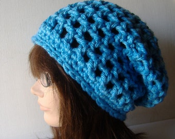 Slouch Beanie Hat in Aquamarine Blue Sky