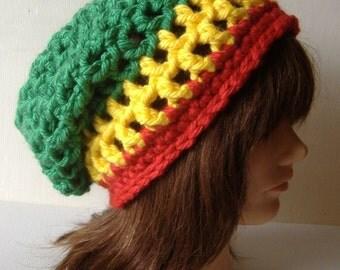 Rasta Slouch Beanie Hat in Rastafari Green Yellow Red
