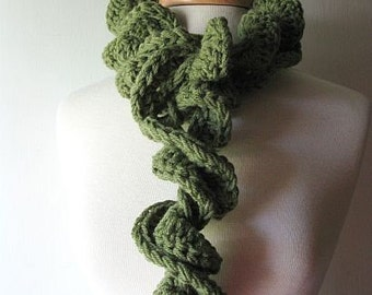 Girly Girl Swirly Swirl Ruffle Scarf Cuddly Mossy Green
