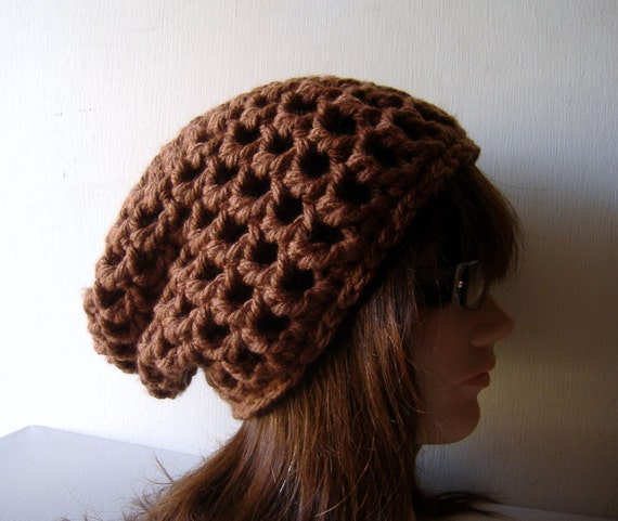 Slouch Beanie Hat in Chocolate Brown
