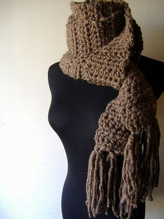 Market Scarf  Espresso Coffee Bean Brown Fringe