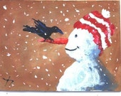Aceo Crow On My Nose crow snowman Christmas print Jim Smeltz