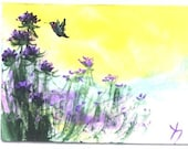 Hummingbird and Purple Thistle  aceo signed wildlife print Jim Smeltz