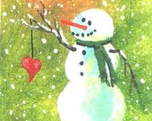 Snowman of Love aceo Christmas print Jim Smeltz