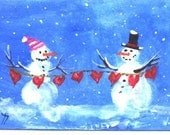 ACEO String of Hearts snowman print Jim Smeltz