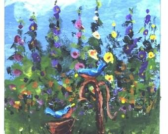 ACEO BLUEBIRDS RUSTY PUMP print Jim Smeltz