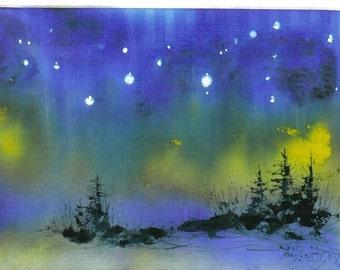ACEO STARRY NIGHT celestial miniature print Jim Smeltz