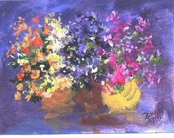 Spring Bouquets floral 5x7 painting  Jim Smeltz