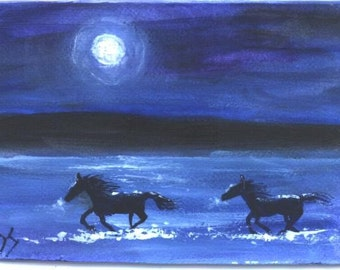 MOONLIGHT RUN aceo equine horse print by Jim Smeltz