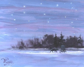 Starlight Ride Amish Buggy  landscape painting  Jim Smeltz