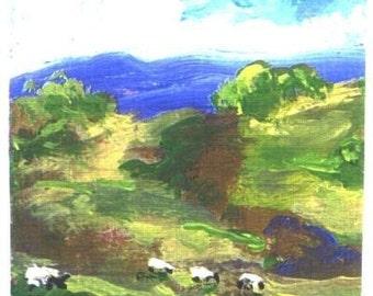 ACEO Hillside Sheep landscape print by Jim Smeltz