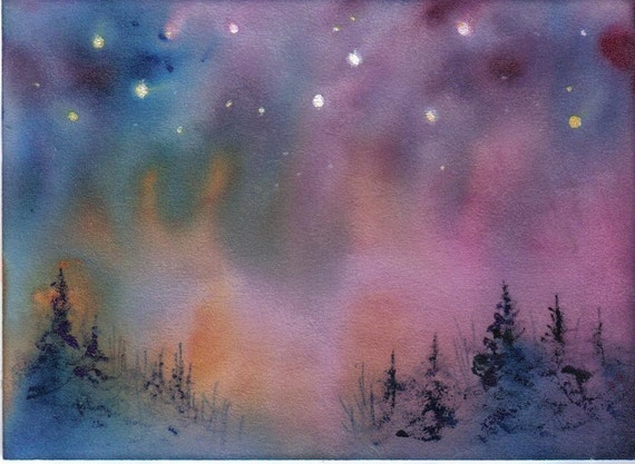 ACEO AURORA celestial northern lights print Jim Smeltz
