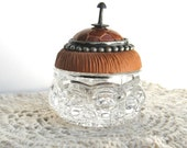 RESERVED Salt Cellar Ring Box Tan with Faux Snake Skin Vintage Button Lid