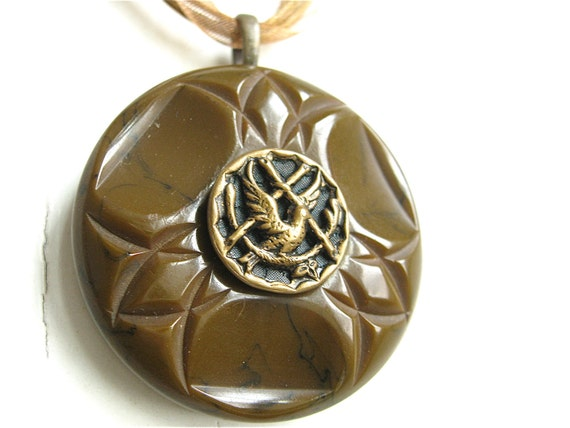 Button Pendant Necklace Mockingjay Hunger Games Bird Dove with Olive Branch Bakelite Brown