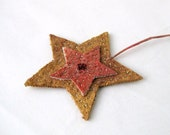 Ornament star country unique felted eco friendly Christmas s