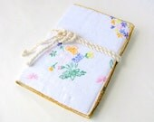 Journal cover recycled vintage embroidered cloth country