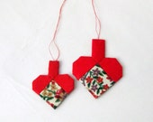 Christmas ornament hand sewn pair of red hearts