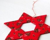 Star pointed red handsewn decor large ornament