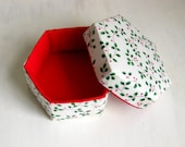 Handmade box lidded hexagonal white green fabric Christmas L