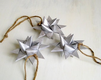 Star ornament origami painted silver 3D christmas