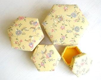 Box gift yellow hexagon fabric cute very small