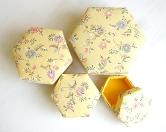 Box gift yellow hexagon fabric cute small